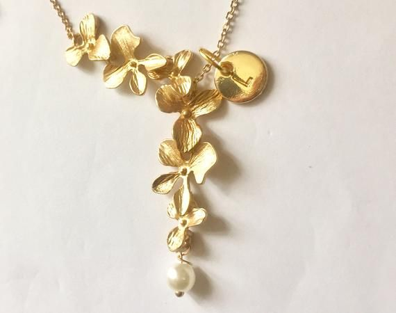 Christmas gift for her, Necklace for mother, Christmas gifts for women, Orchid Necklace with initial, Flower Necklace, Cascading Orchid