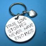 Keychain for Boyfriend Sale True love stories never have endings Keyring, Christmas gift for Boyfriend, Long distance boyfriend gift