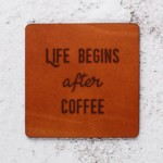 Coffee lovers Leather Coaster Housewarming gift Wedding