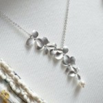Silver orchid necklace Pearl bridal necklace white pearl flower necklace Orchid wedding bridal floral dainty delicate gold necklace silver