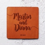 Leather anniversary gift Wedding coasters favors Leather