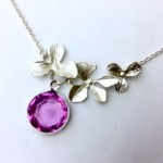 Orchid necklace with Birthstone, Necklaces for women, Mother of the Bride gifts, Mother of the Groom gift, Bridesmaid Necklace, Wedding gift