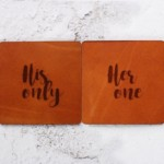 His only her one, Wedding gift ideas,Leather anniversary gifts, Wedding day 2018, Leather Coasters, Romantic gift Husband gift Leather