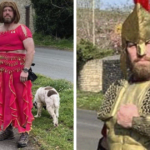 Guy Dresses Up In Different Costumes When Walking His Dogs To Cheer Up His Neighbors During These Hard Times