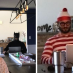 Man Trolls His Wife's Zoom Video Calls By Wearing Funny Costumes In The Background (6 Pics)