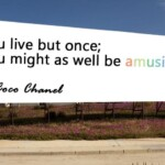 You live but once; you might as well be amusing.– Coco Chanel